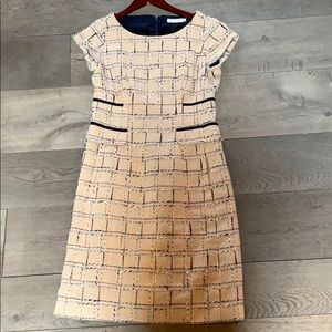 Beige, red and blue Tory Burch dress with pockets